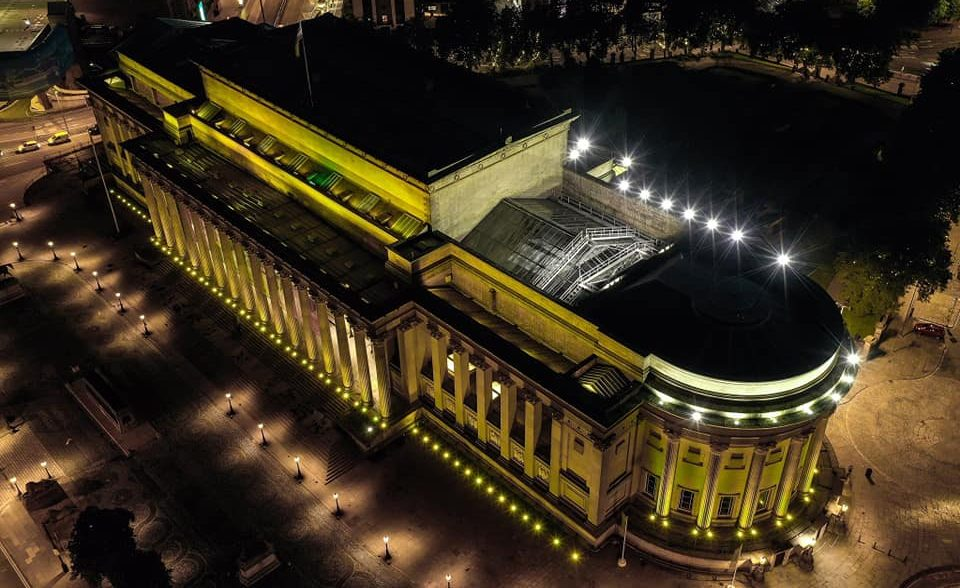 St George's Hall lit up yellow for Mandela Day.